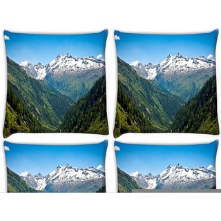 Snoogg Pack Of 4 White Mounatins Digitally Printed Cushion Cover Pillow 10 x 10 Inch