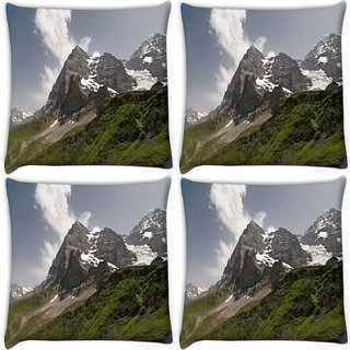 Snoogg Pack Of 4 Snow In Mountains Digitally Printed Cushion Cover Pillow 10 x 10 Inch
