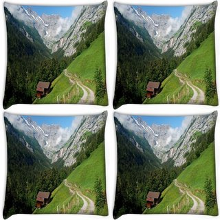 Snoogg Pack Of 4 Small House Digitally Printed Cushion Cover Pillow 10 x 10 Inch