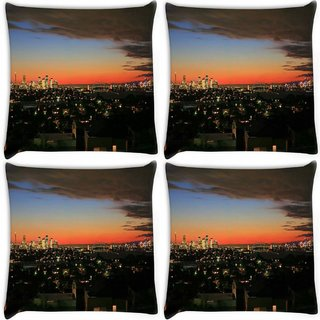 Snoogg Pack Of 4 Colorful City Digitally Printed Cushion Cover Pillow 10 x 10 Inch
