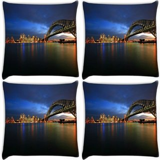 Snoogg Pack Of 4 Colorful Citylights Digitally Printed Cushion Cover Pillow 10 x 10 Inch