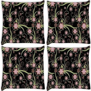 Snoogg Pack Of 4 Abstract Flowers In Black Digitally Printed Cushion Cover Pillow 10 x 10 Inch