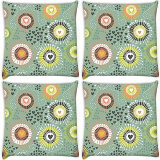 Snoogg Pack Of 4 Purple Pattern Design Digitally Printed Cushion Cover Pillow 10 x 10 Inch