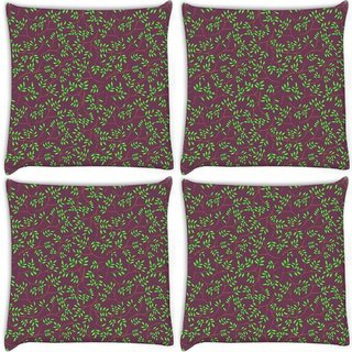 Snoogg Pack Of 4 Green Leaves Brown Pattern Digitally Printed Cushion Cover Pillow 10 x 10 Inch