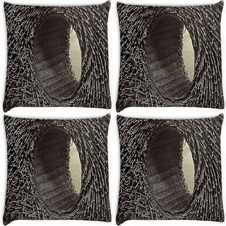 Snoogg Pack Of 4 Grey Hole Digitally Printed Cushion Cover Pillow 10 x 10 Inch