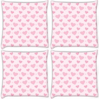 Snoogg Pack Of 4 Loving Heart Digitally Printed Cushion Cover Pillow 10 x 10 Inch