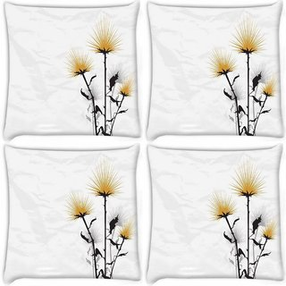 Snoogg Pack Of 4 Simple Text White Digitally Printed Cushion Cover Pillow 10 x 10 Inch