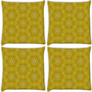 Snoogg Pack Of 4 Small Stars Yellow Digitally Printed Cushion Cover Pillow 10 x 10 Inch