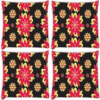 Snoogg Pack Of 4 Red Flowers Digitally Printed Cushion Cover Pillow 10 x 10 Inch