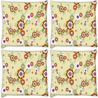 Snoogg Pack Of 4 White Floral Digitally Printed Cushion Cover Pillow 10 x 10 Inch