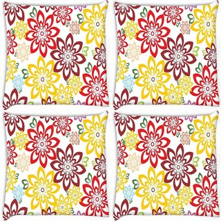 Snoogg Pack Of 4 Colorful Floral Digitally Printed Cushion Cover Pillow 10 x 10 Inch