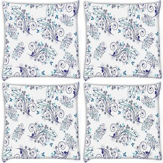 Snoogg Pack Of 4 Blue Pattern Design Digitally Printed Cushion Cover Pillow 10 x 10 Inch