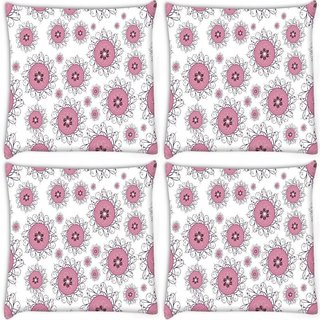 Snoogg Pack Of 4 Pink Circles Digitally Printed Cushion Cover Pillow 10 x 10 Inch