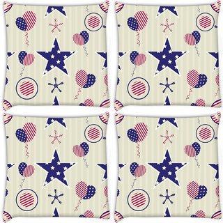 Snoogg Pack Of 4 Us Star Digitally Printed Cushion Cover Pillow 10 x 10 Inch