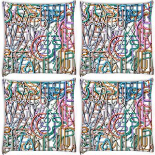 Snoogg Pack Of 4 Colorful Aphlabets Digitally Printed Cushion Cover Pillow 10 x 10 Inch