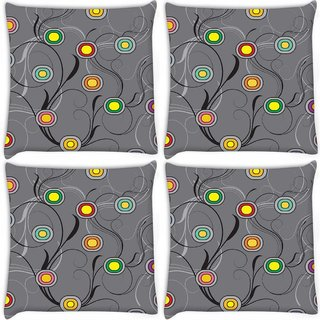 Snoogg Pack Of 4 Colorful Circles Grey Digitally Printed Cushion Cover Pillow 10 x 10 Inch