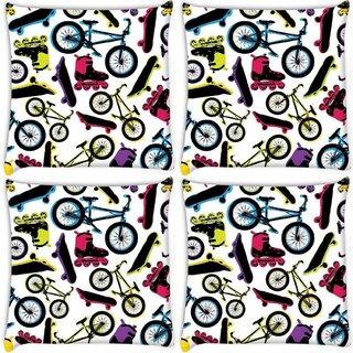 Snoogg Pack Of 4 On Roads Digitally Printed Cushion Cover Pillow 10 x 10 Inch