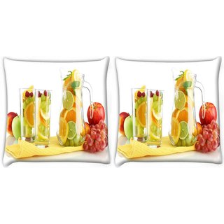 Snoogg Pack Of 2 Fruit Juice Digitally Printed Cushion Cover Pillow 10 x 10 Inch