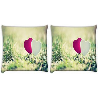 Snoogg Pack Of 2 Two Hearts Digitally Printed Cushion Cover Pillow 10 x 10 Inch