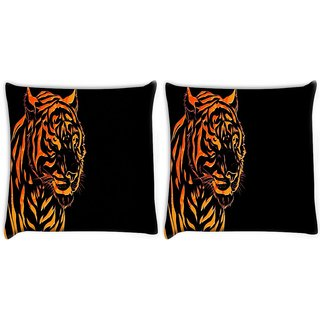 Snoogg Pack Of 2 Fury Tiger Digitally Printed Cushion Cover Pillow 10 x 10 Inch