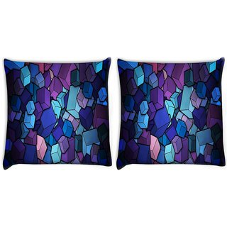 Snoogg Pack Of 2 Colorful Blocks Digitally Printed Cushion Cover Pillow 10 x 10 Inch