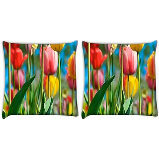 Snoogg Pack Of 2 Colorful Roses Digitally Printed Cushion Cover Pillow 10 x 10 Inch
