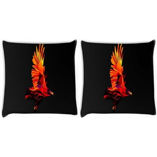 Snoogg Pack Of 2 Flying Eagle Digitally Printed Cushion Cover Pillow 10 x 10 Inch