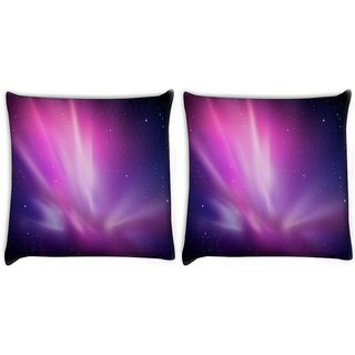 Snoogg Pack Of 2 Galaxy Digitally Printed Cushion Cover Pillow 10 x 10 Inch