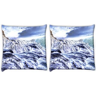 Snoogg Pack Of 2 Sea View Digitally Printed Cushion Cover Pillow 10 x 10 Inch