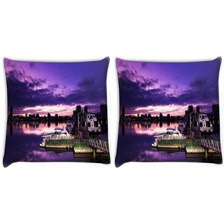 Snoogg Pack Of 2 Nite Sea View Digitally Printed Cushion Cover Pillow 10 x 10 Inch