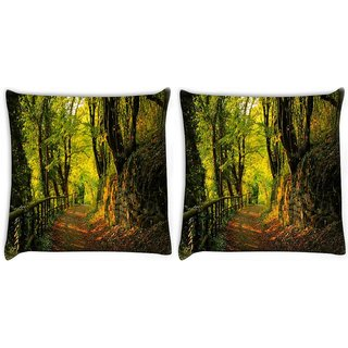 Snoogg Pack Of 2 Forest Way Digitally Printed Cushion Cover Pillow 10 x 10 Inch
