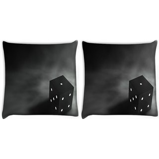 Snoogg Pack Of 2 Abstract Dice Digitally Printed Cushion Cover Pillow 10 x 10 Inch