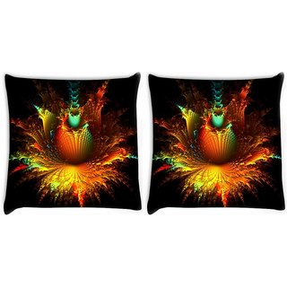 Snoogg Pack Of 2 Abstract Flowers Digitally Printed Cushion Cover Pillow 10 x 10 Inch