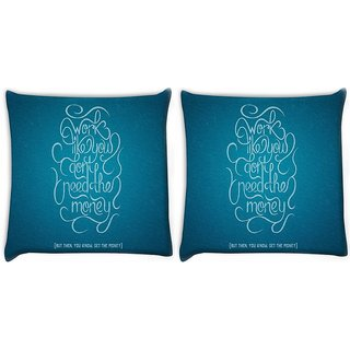Snoogg Pack Of 2 Advice On Work And Money Digitally Printed Cushion Cover Pillow 10 x 10 Inch