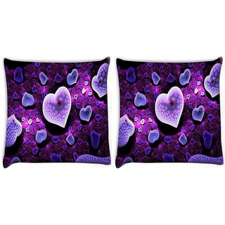 Snoogg Pack Of 2 Amazing Hearts Digitally Printed Cushion Cover Pillow 10 x 10 Inch