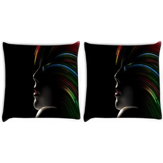 Snoogg Pack Of 2 Hollywood Girl With Rainbow Hair Digitally Printed Cushion Cover Pillow 10 x 10 Inch