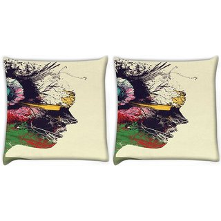 Snoogg Pack Of 2 Artist Portrait Digitally Printed Cushion Cover Pillow 10 x 10 Inch