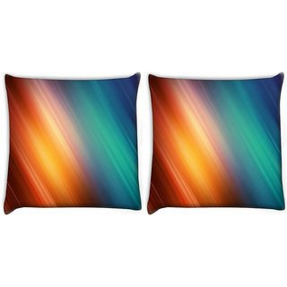 Snoogg Pack Of 2 Aurora Abstract Digitally Printed Cushion Cover Pillow 10 x 10 Inch