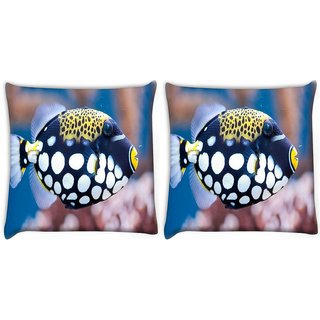 Snoogg Pack Of 2 Fish Animal Digitally Printed Cushion Cover Pillow 10 x 10 Inch