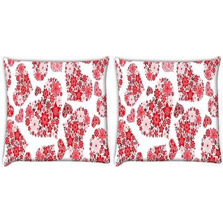 Snoogg Pack Of 2 Floral Hearts Holiday Digitally Printed Cushion Cover Pillow 10 x 10 Inch