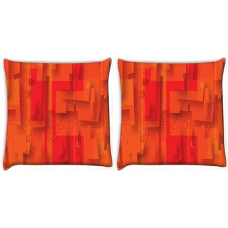 Snoogg Pack Of 2 Red Fractal Digitally Printed Cushion Cover Pillow 10 x 10 Inch
