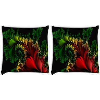 Snoogg Pack Of 2 Fractal Feathers Abstract Digitally Printed Cushion Cover Pillow 10 x 10 Inch