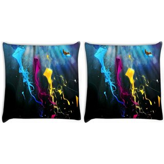 Snoogg Pack Of 2 Colorful Kites Digitally Printed Cushion Cover Pillow 10 x 10 Inch