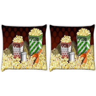 Snoogg Pack Of 2 Guitar Wings Digitally Printed Cushion Cover Pillow 10 x 10 Inch