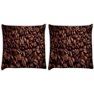 Snoogg Pack Of 2 Freshly Roasted Coffee Beans Digitally Printed Cushion Cover Pillow 10 x 10 Inch