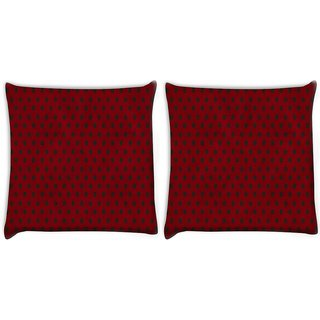 Snoogg Pack Of 2 Red_Polkadots Digitally Printed Cushion Cover Pillow 10 x 10 Inch