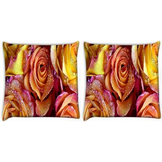 Snoogg Pack Of 2 Roses Covered In Dew Digitally Printed Cushion Cover Pillow 10 x 10 Inch