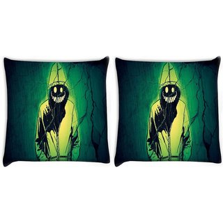 Snoogg Pack Of 2 Smiling Demon Digitally Printed Cushion Cover Pillow 10 x 10 Inch