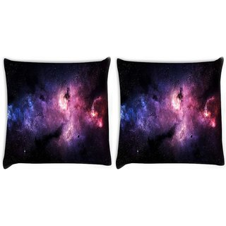 Snoogg Pack Of 2 Stars Galaxies Purple Digitally Printed Cushion Cover Pillow 10 x 10 Inch