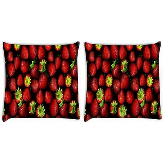Snoogg Pack Of 2 Strawberries Digitally Printed Cushion Cover Pillow 10 x 10 Inch